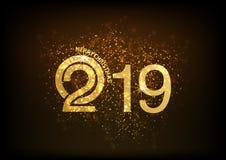 Καλή χρονιά, σχέδιο 2019 κειμένων με τα αστέρια στο χρυσό ύφος, ευτυχές έτος χοίρων στις κινεζικές λέξεις Στοκ Φωτογραφία