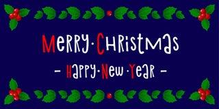 καλή χρονιά χαιρετισμός Χριστουγέννων καρτών Υπόβαθρο διάνυσμα Στοκ Εικόνες