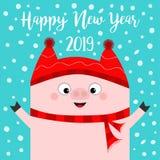 καλή χρονιά Χοίρος που φορά το κόκκινο καπέλο, μαντίλι Σύμβολο Chinise του 2019 χέρια επάνω Νιφάδα χιονιού που πέφτει κάτω Χαριτω διανυσματική απεικόνιση