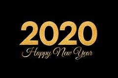 2020 καλή χρονιά Χρυσοί αριθμοί στο μαύρο υπόβαθρο Νέα ευχετήρια κάρτα έτους 2020 απεικόνιση αποθεμάτων