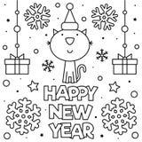 καλή χρονιά Χρωματίζοντας σελίδα επίσης corel σύρετε το διάνυσμα απεικόνισης στοκ εικόνες