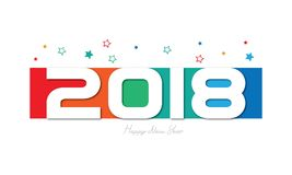 Καλή χρονιά 2018 Colorfull διανυσματική απεικόνιση