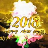 Καλή χρονιά 2018 Watercolor/ Στοκ Εικόνα