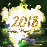 Καλή χρονιά 2018 Watercolor/ Στοκ Φωτογραφία
