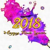 Καλή χρονιά 2018 Watercolor/ Στοκ Εικόνες