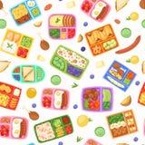 Καλαθάκια με φαγητό με διανυσματική απεικόνιση σχεδίων τροφίμων την άνευ ραφής Πλαστικά εμπορευματοκιβώτια με το γεύμα για το σχο απεικόνιση αποθεμάτων