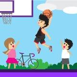 Καλαθοσφαίριση τέχνης κινούμενων σχεδίων σχεδίου χαρακτήρα καλαθοσφαίρισης παιχνιδιού αγοριών στοκ εικόνες