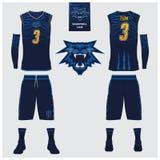 Καλαθοσφαίριση Τζέρσεϋ, σορτς, πρότυπο καλτσών για τη λέσχη καλαθοσφαίρισης Μπροστινός και πίσω αθλητισμός άποψης ομοιόμορφος Τοπ απεικόνιση αποθεμάτων