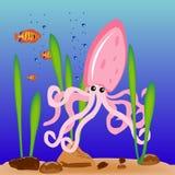 καλαμάρι θάλασσας ημέρας διανυσματική απεικόνιση