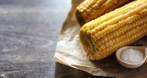 καλαμπόκι φρέσκο Φυσικά τρόφιμα από το σπάδικα καλαμποκιού με το αλάτι Αγροτικός μεξικανός Στοκ Φωτογραφία