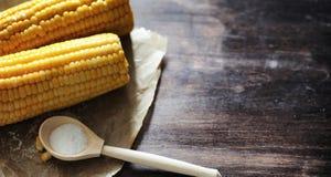 καλαμπόκι φρέσκο Φυσικά τρόφιμα από το σπάδικα καλαμποκιού με το αλάτι Αγροτικός μεξικανός Στοκ Εικόνα