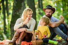 Καλημέρα για το πικ-νίκ άνοιξη στη φύση Ενωμένος με τη φύση Έννοια οικογενειακής ημέρας Ευτυχής οικογένεια με τη χαλάρωση αγοριών στοκ εικόνες με δικαίωμα ελεύθερης χρήσης