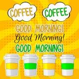 Καλημέρα που γράφει το διανυσματικό καθορισμένο illlustration με τον καφέ απεικόνιση αποθεμάτων