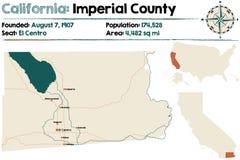 Καλιφόρνια: Αυτοκρατορικός χάρτης νομών Στοκ Εικόνες