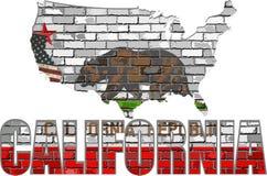 Καλιφόρνια σε έναν τουβλότοιχο ελεύθερη απεικόνιση δικαιώματος