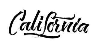Καλιφόρνια Σύγχρονη εγγραφή χεριών καλλιγραφίας για την τυπωμένη ύλη Serigraphy Στοκ Φωτογραφία