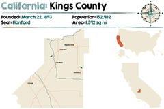 Καλιφόρνια: Χάρτης νομών βασιλιάδων Στοκ Εικόνες