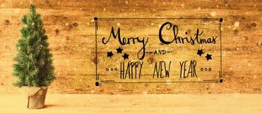 Καλλιγραφία, Χαρούμενα Χριστούγεννα και καλή χρονιά, αναδρομικό δέντρο, Snowflakes Στοκ εικόνες με δικαίωμα ελεύθερης χρήσης
