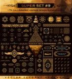 Καλλιγραφικά εκλεκτής ποιότητας στοιχεία Διανυσματικό μπαρόκ σύνολο Εικονίδια σχεδίου Στοκ Εικόνες