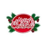 Καλλιγραφική εγγραφή κειμένων Χαρούμενα Χριστούγεννας διανυσματική που διακοσμείται με τους πράσινους κλάδους και τους κώνους δέν Στοκ φωτογραφία με δικαίωμα ελεύθερης χρήσης