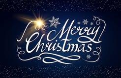 Καλλιγραφική εγγραφή Χαρούμενα Χριστούγεννας με τα κομψά χρυσά αποτελέσματα στο μπλε υπόβαθρο Εκλεκτής ποιότητας να λάμψει σχέδιο Στοκ Εικόνα