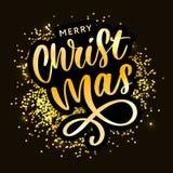 Καλλιγραφική επιγραφή Χαρούμενα Χριστούγεννας που διακοσμείται με τα χρυσές αστέρια και τις χάντρες ελεύθερη απεικόνιση δικαιώματος