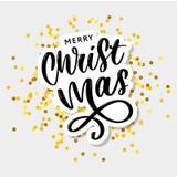 Καλλιγραφική επιγραφή Χαρούμενα Χριστούγεννας που διακοσμείται με τα χρυσές αστέρια και τις χάντρες διανυσματική απεικόνιση