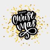 Καλλιγραφική επιγραφή Χαρούμενα Χριστούγεννας που διακοσμείται με τα χρυσές αστέρια και τις χάντρες απεικόνιση αποθεμάτων