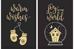 Καλλιγραφικοί χαιρετισμοί Χριστουγέννων Στοκ Φωτογραφία