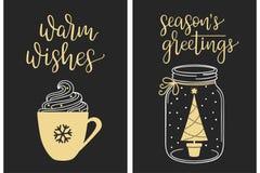 Καλλιγραφικοί χαιρετισμοί Χριστουγέννων Στοκ Φωτογραφίες