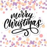 Καλλιγραφικό διακοσμημένο επιγραφή γράφοντας κείμενο Χαρούμενα Χριστούγεννας απεικόνιση αποθεμάτων