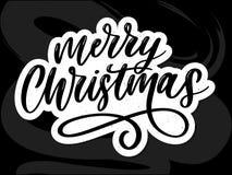 Καλλιγραφικό διακοσμημένο επιγραφή γράφοντας κείμενο Χαρούμενα Χριστούγεννας διανυσματική απεικόνιση