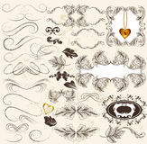 Καλλιγραφικό σύνολο αναδρομικών στοιχείων σχεδίου και διακοσμήσεων σελίδων Στοκ Φωτογραφίες