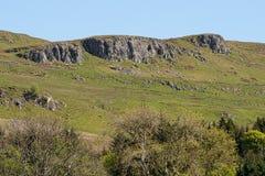 Καλλιεργήσιμα εδάφη του Ayrshire βουνοπλαγιών και της Σκωτίας βράχων Cauld με τα νέα αρνιά, τους δενδρώδεις φράκτες και έναν μπλε στοκ φωτογραφία