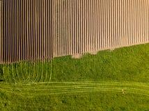 Καλλιεργήσιμο έδαφος άνοιξη Τομέας και όμορφα σχέδια από το τρακτέρ επάνω από την όψη ν Στοκ Εικόνα