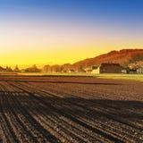 Καλλιεργήσιμο έδαφος και λιβάδια στην Ελβετία Στοκ Φωτογραφίες