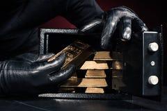 Καλλιεργημένη άποψη των stealing χρυσών πλινθωμάτων κλεφτών στοκ εικόνα με δικαίωμα ελεύθερης χρήσης