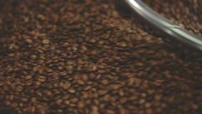 Καλλιεργημένος κινηματογράφηση σε πρώτο πλάνο πυροβολισμός παραδοσιακό roaster που αναμιγνύει τα πρόσφατα ψημένα φασόλια καφέ φιλμ μικρού μήκους