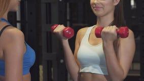 Καλλιεργημένος πυροβολισμός ενός επαγγελματικού προπονητή ικανότητας που βοηθά το θηλυκό πελάτη της στη γυμναστική απόθεμα βίντεο