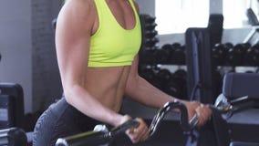 Καλλιεργημένος πυροβολισμός μιας αθλητικής γυναίκας που κάνει τις μπούκλες δικέφαλων μυών στη γυμναστική φιλμ μικρού μήκους