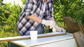 Καλλιεργημένος πυροβολισμός της γυναίκας τεχνών που χρωματίζει την ξύλινη σανίδα με το άσπρο χρώμα στον κήπο απόθεμα βίντεο