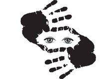 Καλλιεργητικός το σύμβολο φιαγμένο από χέρια με το εσωτερικό ματιών που απομονώνεται στο λευκό ελεύθερη απεικόνιση δικαιώματος