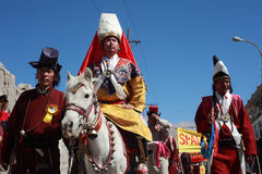 Καλλιεργητικό procesion κατά τη διάρκεια του φεστιβάλ Ladakh Στοκ Εικόνες