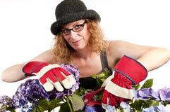 καλλιεργώντας secateurs γυναίκα Στοκ Εικόνες