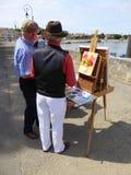 Καλλιτέχνης και easel στις όχθεις του ποταμού Στοκ εικόνα με δικαίωμα ελεύθερης χρήσης