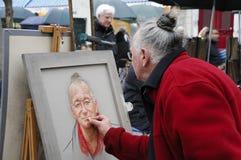 καλλιτέχνης που κάνει portret μό& διανυσματική απεικόνιση