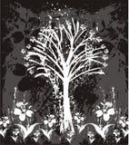 Καλλιτεχνικά δέντρο και λουλούδια ελεύθερη απεικόνιση δικαιώματος