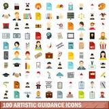 100 καλλιτεχνικά εικονίδια καθοδήγησης καθορισμένα, επίπεδο ύφος διανυσματική απεικόνιση