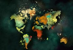Καλλιτεχνική ζωγραφική παγκόσμιων χαρτών διανυσματική απεικόνιση