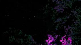 Καλλιτεχνικοί ουρανοί ανωτέρω με τα πορφυρά και πράσινα δέντρα στοκ φωτογραφία